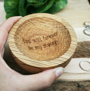 Personalised Carved Oak Engraved Jewellery Dish