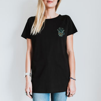 Aloe Succulent Embroidered Organic Cotton T Shirt