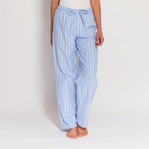 Women's Pyjama Trousers Blue And White Striped Flannel - lounge & activewear