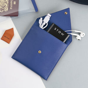 Leather Pouch With Travel Phone Charger