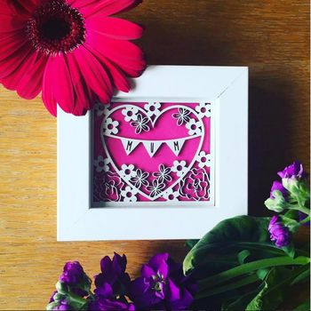 Framed Miniature Mum Mother's Day Paper Cut Print
