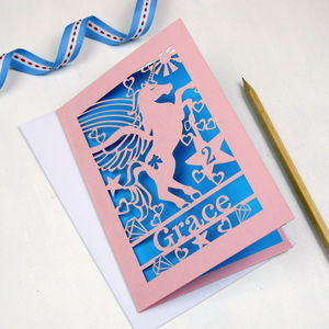 Personalised Papercut Unicorn Birthday Card - birthday cards