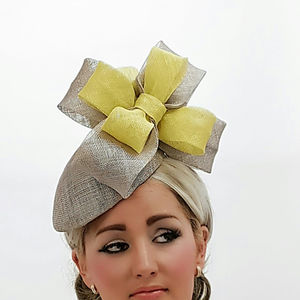 Grey And Yellow Percher Style Hat - hats & fascinators
