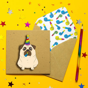 Birthday Pug Personalised Card - birthday cards