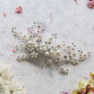 Betsy Crystal And Pearl Hair Comb - head pieces