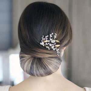 Bridal Pins Gold Leaf - combs & hair pins