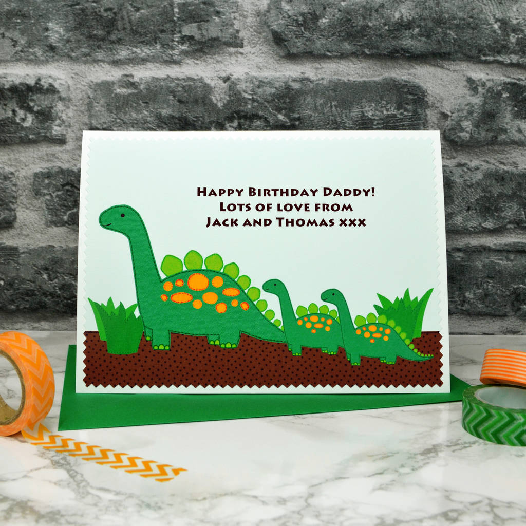 Dinosaurs Personalised Birthday Card From Children By Jenny Arnott