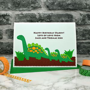 'Dinosaurs' Personalised Birthday Card From Children