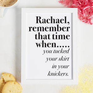 Personalised Remember When Print - gifts for teenage girls