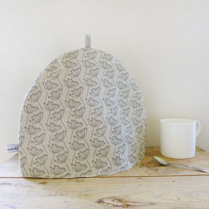 Natural Charcoal Cow Parsley Linen Tea Cosy - tea & coffee cosies