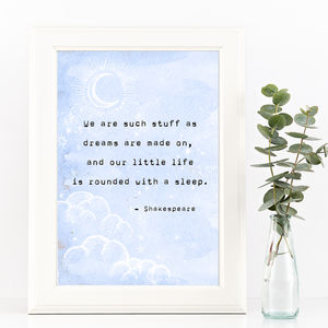 Shakespeare Dreams Typewriter Print