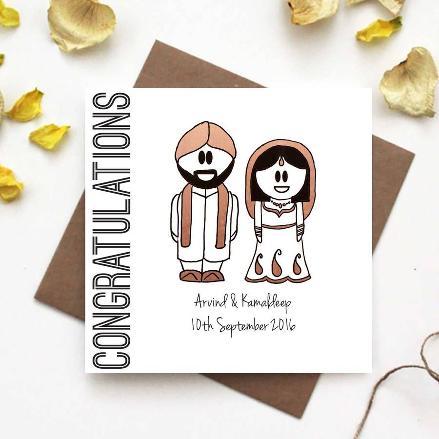 congratulations wedding card traditional indian dress by the