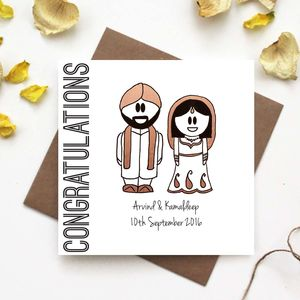 Congratulations Wedding Card Traditional Indian Dress - wedding cards