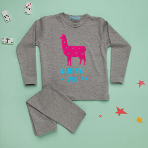 Personalised Childrens Pyjamas Llama Print