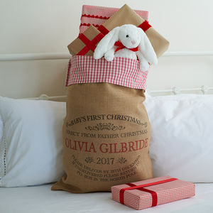 Personalised Baby's 1st Christmas Sack With Gingham Top