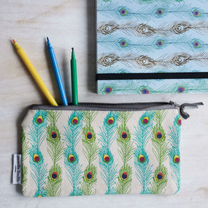 Peacock Feather Pencil Case - summer sale