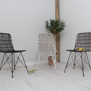 Rattan Scandi Style Dining Chair Three Colours - dining room