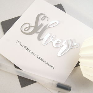 Silver 25th Wedding Anniversary Card - shop by category