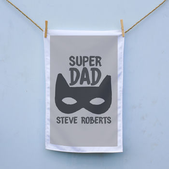 Personalised Super Dad Tea Towel
