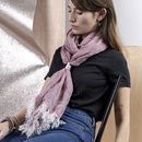 Linen Scarf With Contemporary Aluminium Fastner