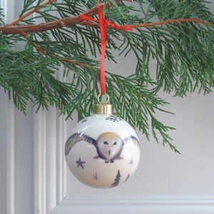 Barn Owl Fine Bone China Bauble - home accessories