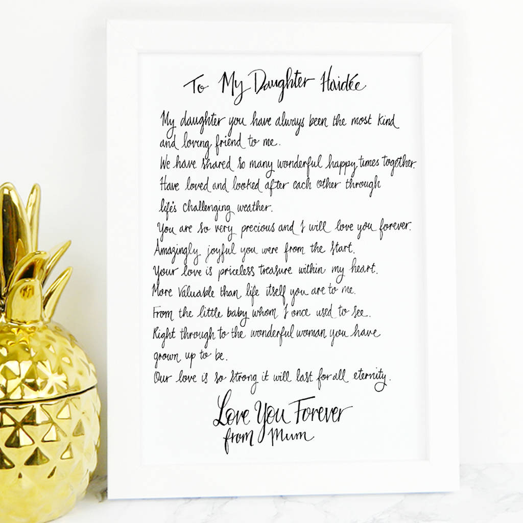 daughter poem gift by de fraine design london | notonthehighstreet.com