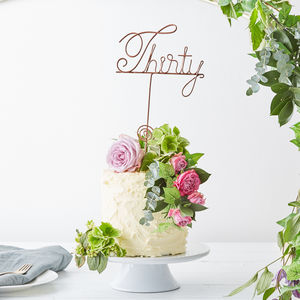 Thirty Wire Birthday Cake Topper