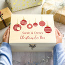 Personalised Red Baubles Christmas Eve Box