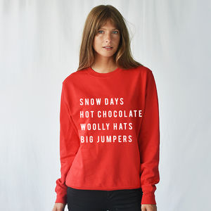 'Snow Day' Christmas Unisex Sweatshirt Jumper - christmas jumpers & t shirts