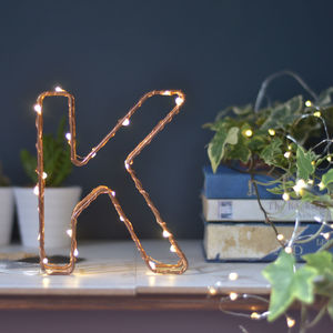 Metallic Light Up Wire Letter - christmas styling