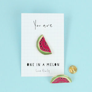 Personalised Melon Soft Enamel Pin Badge - thank you gifts