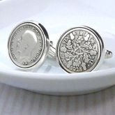 Hallmarked Silver Lucky Sixpence Cufflinks - men's jewellery