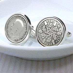 Hallmarked Silver Lucky Sixpence Cufflinks - gifts for grandfathers
