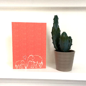 Coral Elephant Greeting Card - winter sale