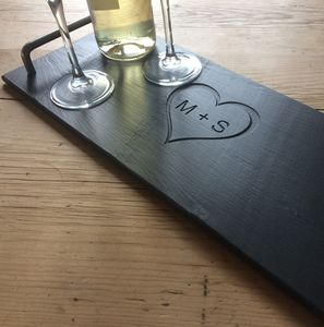 Initials Engraved Slate Cheeseboard - trays