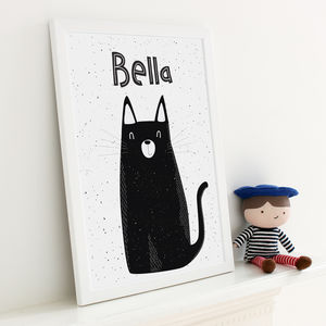 Personalised Kitty Cat Monochrome Print - view all sale items