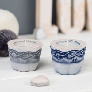 Concrete Vintage Lace Effect Tea Light Holders