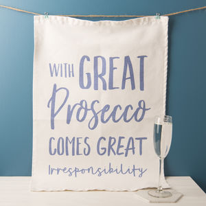 'With Great Prosecco' Tea Towel - prosecco-lover