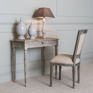 Woodcroft Colonial Grey Wood Top Table With Drawer