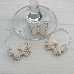 Butterfly Wine Glass Charms - dining room