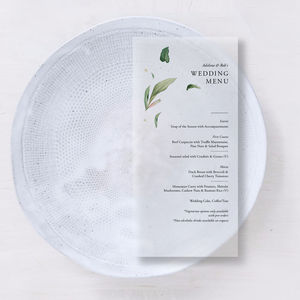 Translucent Vellum Minimal Wedding/Party Menus - shoreline wedding trend