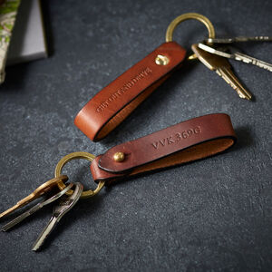 Personalised Leather Car Or Bike Keyring
