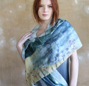 Blue Women's Personalised Silk Wedding Scarf Wrap