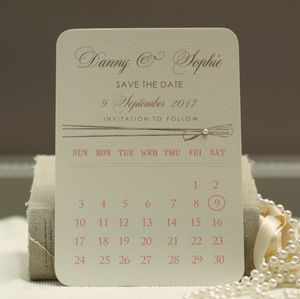 'Calendar Style' Personalised Save The Date Cards