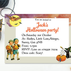 Children's Halloween Party Invitations For Boys - invitations
