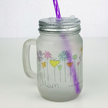Personalised Flowers Frosted Mason Jar