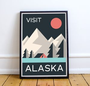 'Visit Alaska' Vintage Inspired Travel Art Print