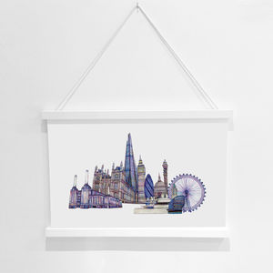 London Skyline Pencil Illustration Fine Art Print - animals & wildlife