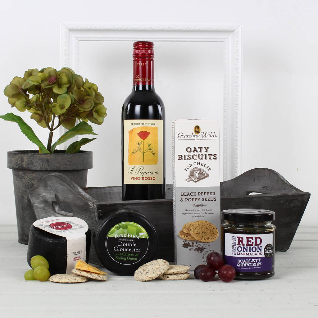 Cheese And Wine Tray Gift Hamper