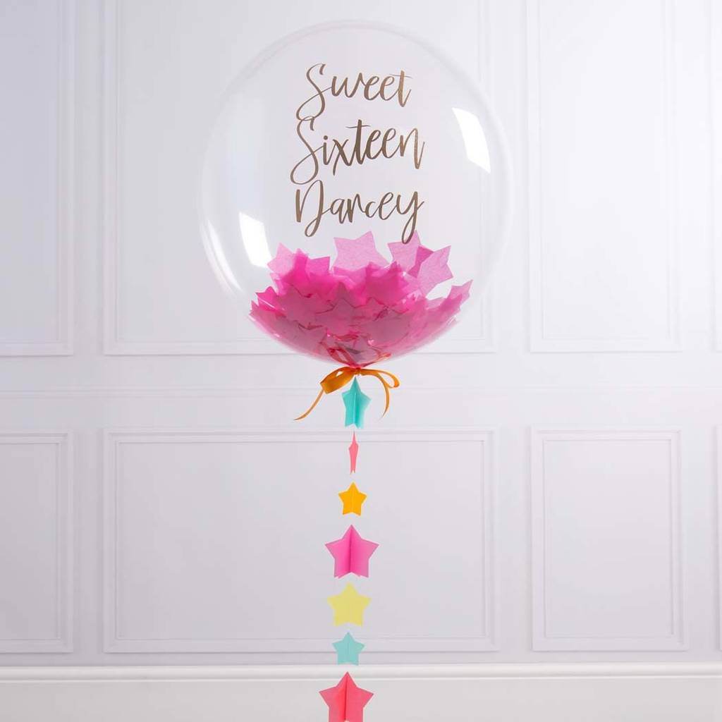 Personalised Sweet 16 Confetti Filled Balloon By Bubblegum Balloons